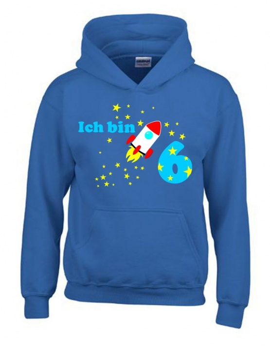 ich bin 6 jahre jahreszahl mit rakete sterne kinder geburtstag sweatshirt mit kapuze hoodie. Black Bedroom Furniture Sets. Home Design Ideas