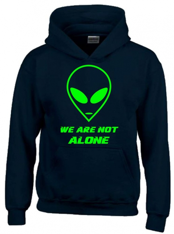 We are not alone ! Alien Kinder Sweatshirt mit Kapuze HOODIE Kids Gr.128 - 164 cm