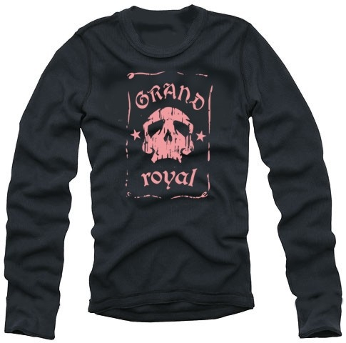 Grand Royal langarm t-shirt skull SCHWARZ/PINK