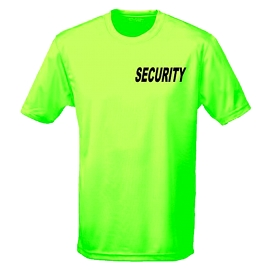 SECURITY Neonshirt - T-Shirt Druck vorne + hinten - SECURITY gel