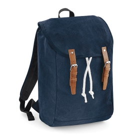Vintage Laptop & Tablett Backpack Rucksack Baumwoll-Canvas Navy,