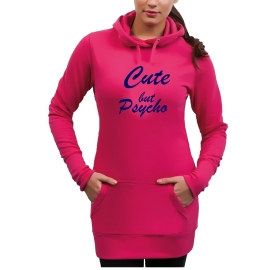 CUTE BUT PSYCHO Long Hoodie Sweatshirt mit Kapuze Damen