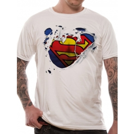 SUPERMAN TORN ORIGINAL T-Shirt  WEISS Grössen S M L XL 2XL