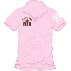 RIO pink POLO rosa/braun CITY OF GOD - RIO27 S-XXL