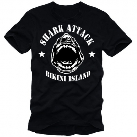 SHARK ATTACK BIKINI ISLAND T-SHIRT